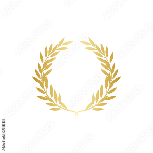 Fototapeta Big gold wreath with many thick leaves, round vintage branch laurel decoration obraz