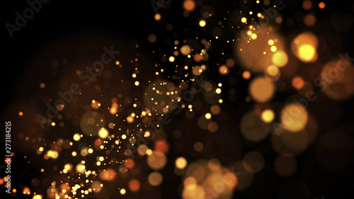 gold particles glisten in the air, gold sparkles in a viscous fluid have the effect of advection with depth of field and bokeh Canvas Print
