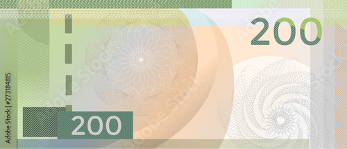 Cuadros en Lienzo Voucher template banknote 200 with guilloche pattern watermarks and border
