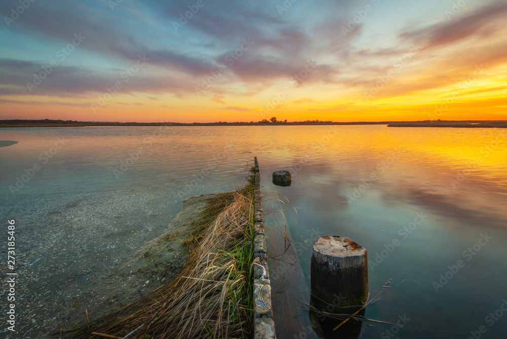Fototapety, obrazy: Sunset from Sinepuxent Bay at Assateague Island, Maryland