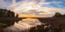 Panoramic Sunset Over Wetlands At Assateague Island In Maryland