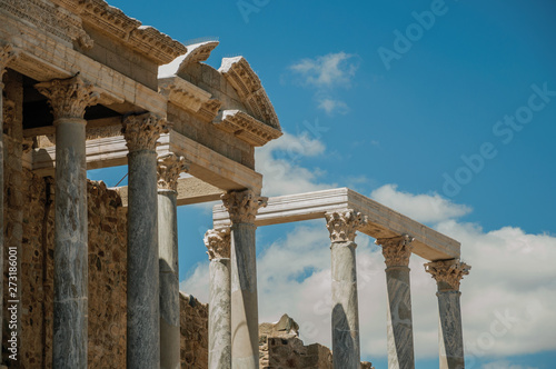 Marble columns and architrave in the Roman Theater at Merida Canvas Print