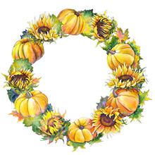 Autumn Wreath Witn Colorful Pu...