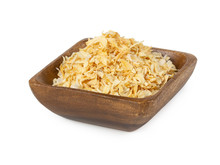 Dried Onion In Wooden Bowl Isolated On White