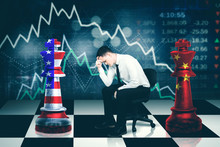Young Businessman Looks Stressed With Trade War