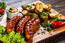Grilled Sausages And Vegetable...