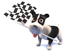 Cute Cartoon Puppy Dog Waves The Checkered Flag, 3d Illustration