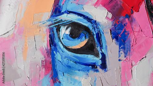 Fototapeta reprodukcje  obraz-olejny-konia-portretowego-w-wielobarwnych-odcieniach-koncepcyjne-malarstwo-abstrakcyjne-konia