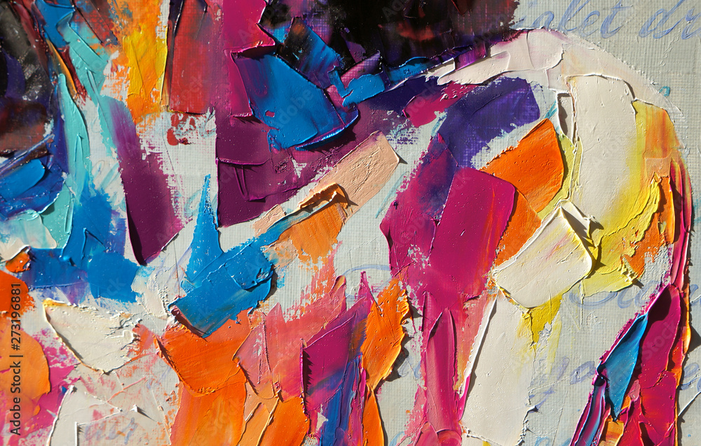 """Fototapeta """"Louise"""" - oil painting. Conceptual abstract picture of a beautiful girl. On the background is written text from a book. Conceptual abstract closeup of an oil painting and palette knife on canvas."""