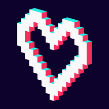 Pixel Heart Made 3d Blue Red White