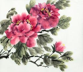 Panel Szklany Podświetlane Kwiaty red peony bush