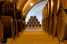 Vintage Wine Cellar With Old Oak Barrels, Production Of Fortified Dry Or Sweet Marsala Wine In Marsala, Sicily, Italy