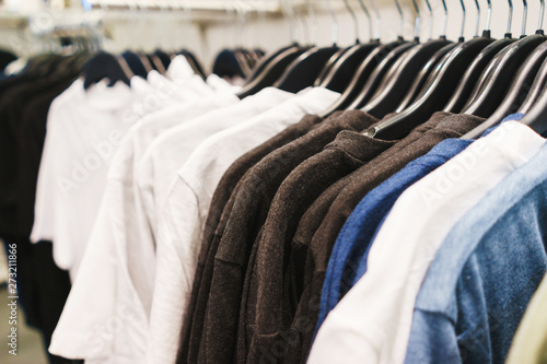 Hangers bright fashionable clothes Wallpaper Mural
