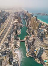 Aerial View Of Dubai Marina An...