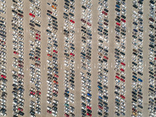 Aerial View Of Cars Parked Outside Motiongate Theme Park, Dubai, UAE