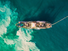 Aerial View Of Sand Dredging Boat In Persian Gulf, Dubai, UAE.