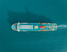 Aerial View Of One Passenger Cruise Ship Near Shell Island, Philippines.