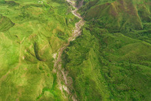 Aerial View Of Winding Road In Valley In Porac, Philippines.