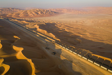 Aerial View Of A Long Train Cr...