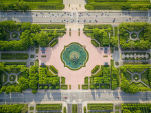 Aerial View Of Buckingham Fountain At Grand Park, Chicago