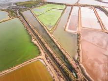 Aerial View Of Colorful Salt Marsh In Portugal