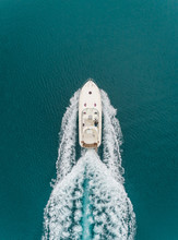 Aerial View Of A Boat Driving In The Mediterranean Sea, Achaia, Greece.