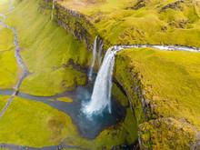 Aerial View Of Seljalandsfoss Waterfall