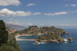 Taormina Sicily popular beautiful beach side at Isla Bella, Mediterranean seascape and nature in Summer