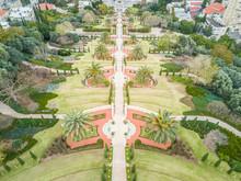 Aerial View Of Bahai Holy Gardens In Haifa, Israel.