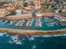 Aerial View Of Jaffa Harbour In Tel-Aviv, Israel.