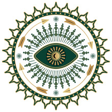 Mystic Eye Symbol Boho Illustration. Art Deco Print With Gold And Green Color