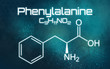 Chemical formula of Phenylalanine on a futuristic background
