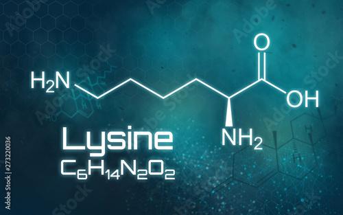 Photo  Chemical formula of Lysine on a futuristic background
