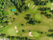 Aerial View Of Golf Course On Lake Coiroux In Correze, France.