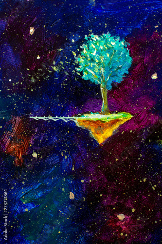 Knowledge Tree flying in blue starry space - Original oil painting on canvas Wallpaper Mural