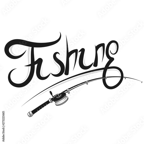 Leinwand Poster Fishing rod with a reel silhouette for sport fishing