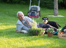 Senior Man With Dog Resting On Lawn