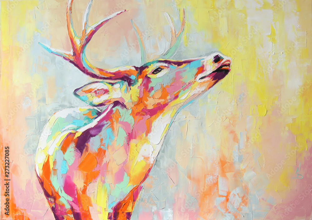 Fototapeta Oil deer portrait painting in multicolored tones. Conceptual abstract painting of a deer muzzle. Closeup of a painting by oil and palette knife on canvas.