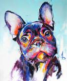 Portret olejnego psa w wielobarwnych kolorach. Koncepcyjne malarstwo abstrakcyjne kagana buldoga francuskiego. Zbliżenie obraz olejny i szpachlą na płótnie. - 273227040