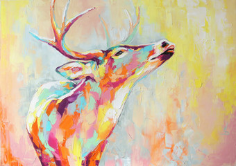 Oil deer portrait painting in multicolored tones. Conceptual abstract painting of a deer muzzle. Closeup of a painting by oil and palette knife on canvas.