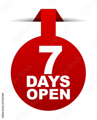 Photo red vector banner seven days open