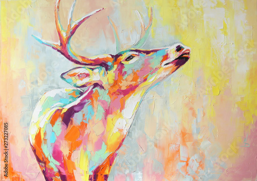 Obraz Oil deer portrait painting in multicolored tones. Conceptual abstract painting of a deer muzzle. Closeup of a painting by oil and palette knife on canvas. - fototapety do salonu