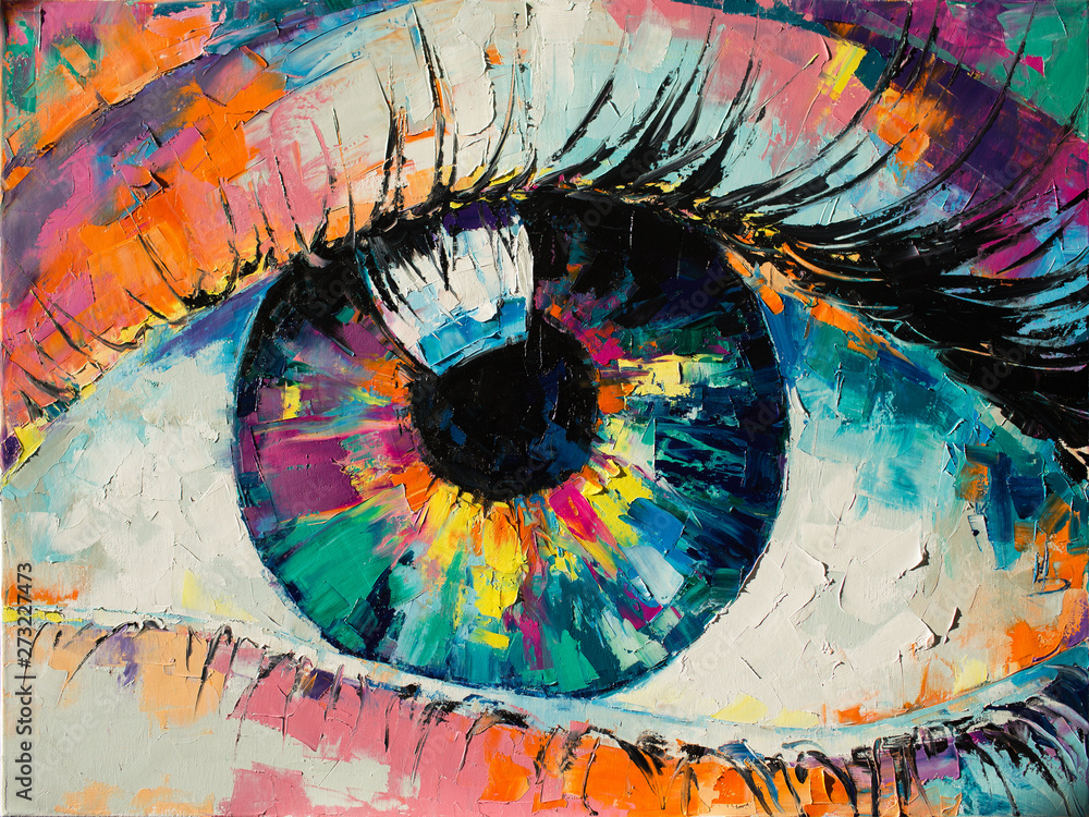 "Fototapety, obrazy: ""Fluorite"" - oil painting. Conceptual abstract picture of the eye. Oil painting in colorful colors. Conceptual abstract closeup of an oil painting and palette knife on canvas."