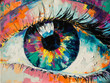 "Leinwanddruck Bild - ""Fluorite"" - oil painting. Conceptual abstract picture of the eye. Oil painting in colorful colors. Conceptual abstract closeup of an oil painting and palette knife on canvas."