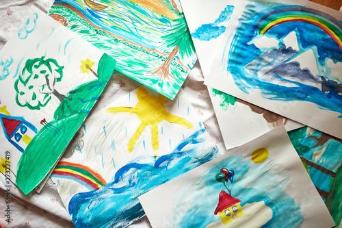 Fotobehang Paradijsvogel bloem Painted artworks