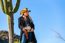 Blonde Cowgirl In The American Southwest
