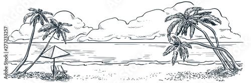 Fotografie, Tablou Palms on ocean beach, vector hand drawn sketch landscape illustration
