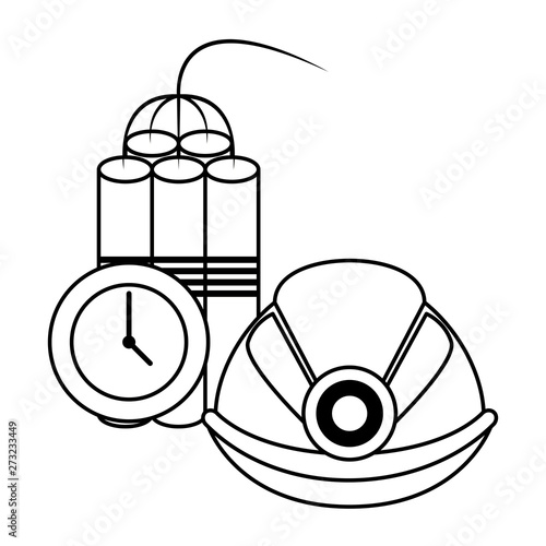 Papel de parede Mining tnt detonator with timer and helmet in black and white