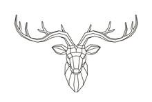 Geometric Deer Head. Abstract Animal. Low Poly Line Art Vector Illustration