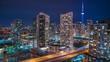Toronto Time Lapse Night CN Tower Gardiner Expressway 4K